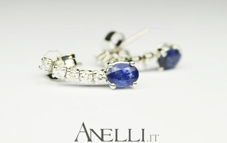 Orecchini con Zaffiri e Diamanti #orecchinizaffiri #orecchinidiamanti #gioielliitaliani <3 www.anelli.it <3 info@anelli.it <3