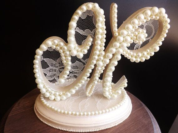 Pearls and Lace Monogram Cake Topper With Base