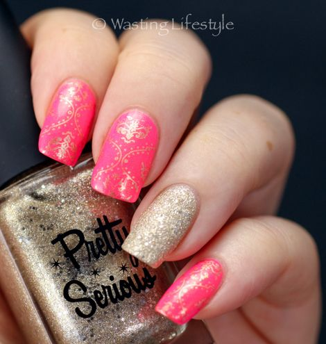 Color Club Poptastic and Pretty Serious Dimension X + stamping