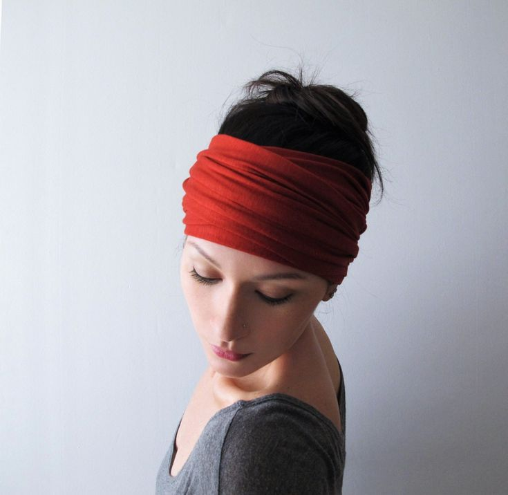 PAPRIKA Head Scarf, EcoShag Head Wrap, Extra Wide Rust Red Head Wrap, Adjustable Headbands for Women, Jersey Hair Wrap, Jersey Head Scarf   – MODA