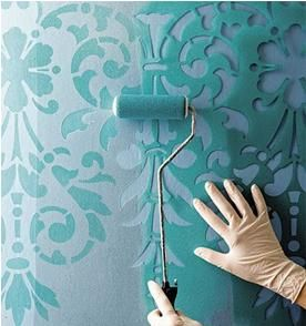 Wall Stenciling Decor: Ideas, Craft, Wallpaper, Paint, House, Wall Stencils, Diy, Bedroom, Accent Wall