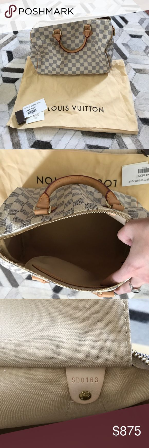Louis Vuitton Speedy 30 Bag Used one time! Leather has not even turned yet. Still have original keys to the lock and original bag. white checkered pattern Louis Vuitton Bags Shoulder Bags