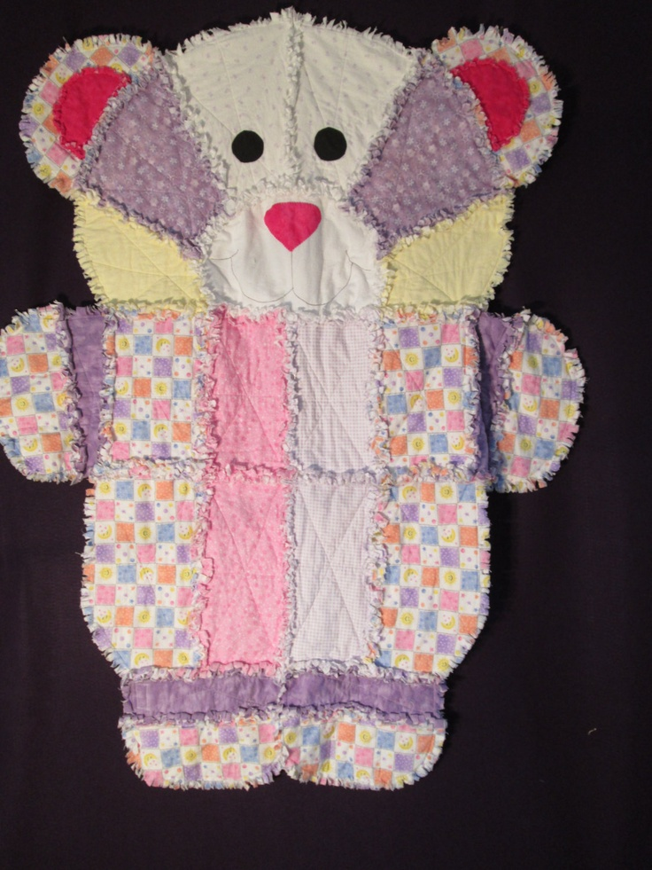 Flannel Animal Bear Rag Quilt 135 00 Via Etsy Quilts