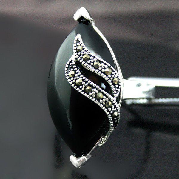 Fashion Men's Women's Black Agate Gemstone Solid 925 Sterling Silver Ring