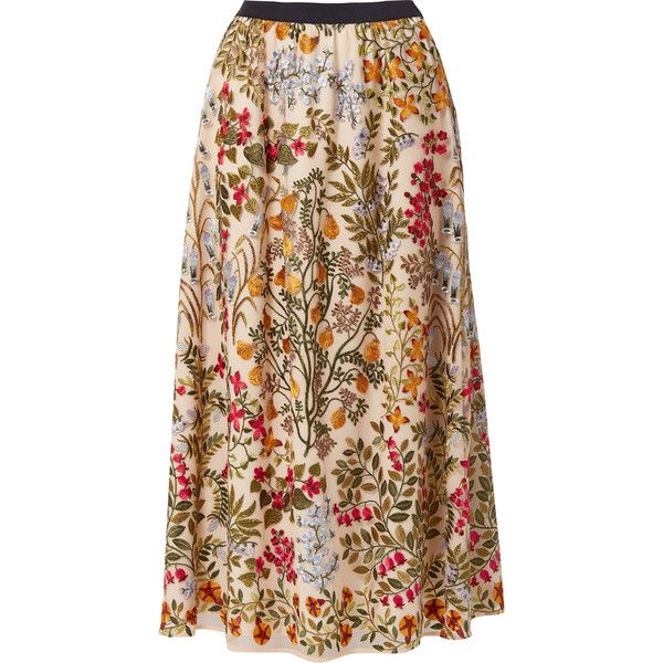 REDValentino Embroidered tulle midi skirt (€895) ❤ liked on Polyvore featuring skirts, beige, tulle skirts, beige skirt, transparent skirt, embroidered skirt and flower skirt