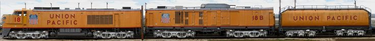 Union Pacific gas turbine electric locomotive. Designed to replace steam locomotives on a 1:1 basis, (1st generation diesesls were on 4:1 basis) the GTELs were the most powerful locomotives ever built: rated at 8,500 HP burning Bunker C fuel oil