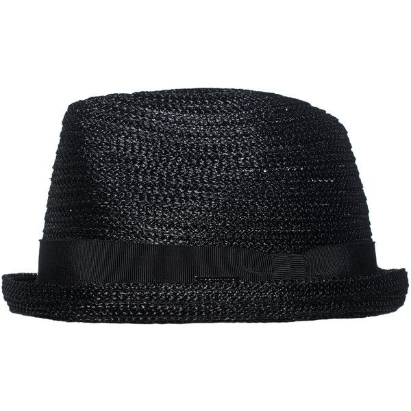 DSQUARED2 Straw Black // Straw hat with grosgrain ribbon ($265) ❤ liked on Polyvore featuring men's fashion, men's accessories, men's hats, mens beach hats, mens straw beach hats, mens summer hats, mens straw summer hats and mens straw hats