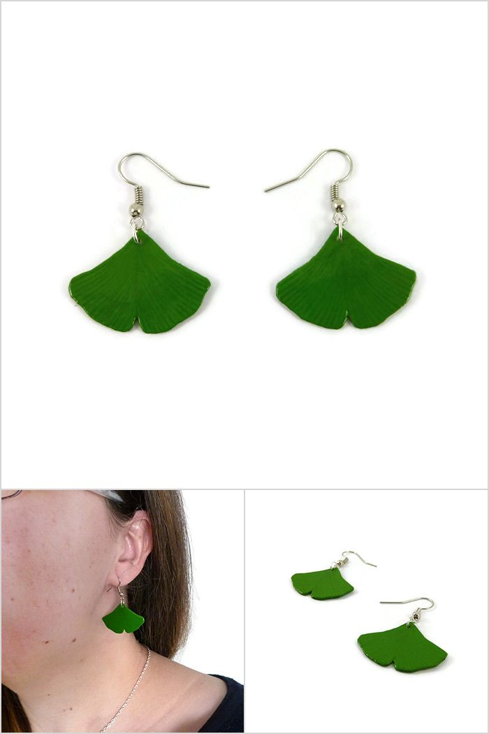 Green ginkgo leaves dangle earrings, eco-friendly nature earrings, rustic earrings, woodland painted plastic earrings (recycled CD) - Made on order by @savousepate on Etsy #rusticwedding #woodlandwedding #ginkgo #ginkgoleaves #ecofriendly #ecoresponsible  #recycling #upcycling