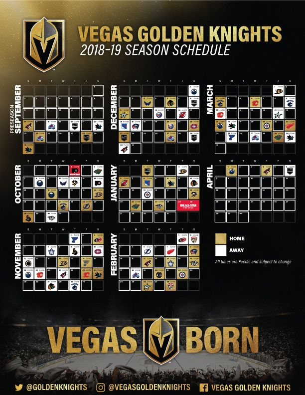 Vgk 2018 19 Season Schedule Vgk Golden Knights Hockey Vegas