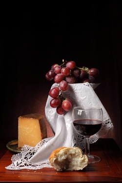 """Saatchi Art Artist Cecilia Gilabert; Photography, """"Still life on cheese and grapes"""" #art"""