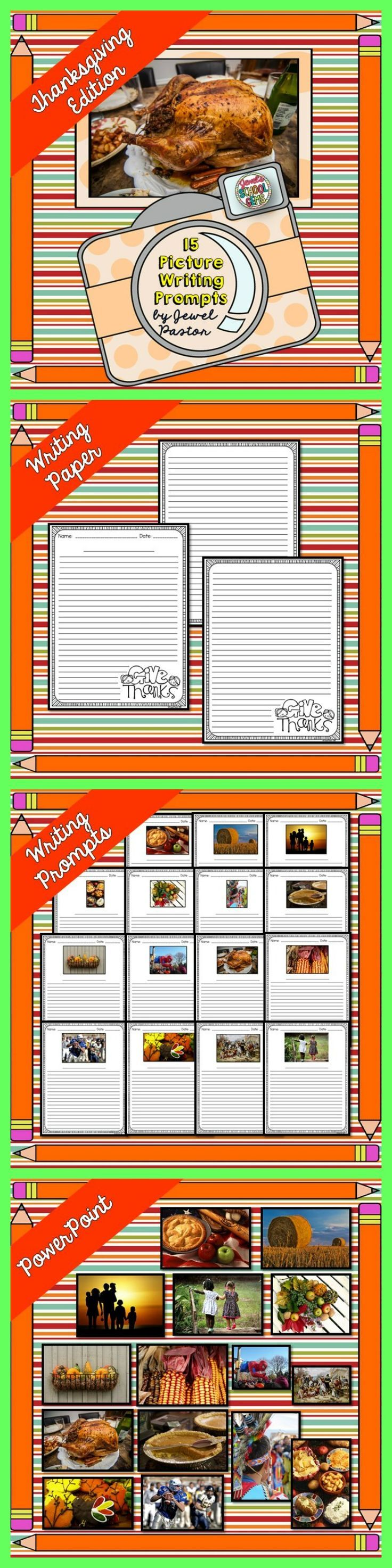 Thanksgiving Writing  Thanksgiving Picture Writing Prompts   This resource contains: * A PDF file composed of 15 sheets with picture writing prompts and two Thanksgiving writing paper/sheets. * A PowerPoint file with the pictures used in the sheets to give you an option to show the images through the Interactive Whiteboard.
