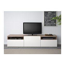 BESTÅ TV-Bank - grau las. Nussbaumnachb./Selsviken Hochglanz/weiß, Schubladenschiene, Drucksystem - IKEA