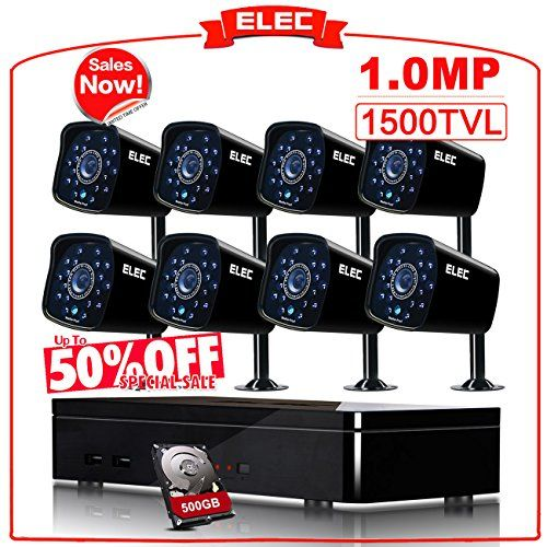 ELEC 8CH 960H DVR Security Camera System 8 Outdoor CCTV 1500TVL Bullet Cameras with 500GB Hard Drive (Black) For Sale
