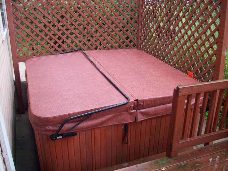 Beauty looking hot tub cover and lifter combo. Great color match as well. www.thecoverguy.com