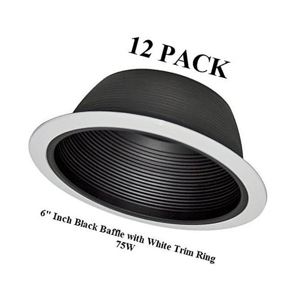 6 Inch Recessed Lighting Baffle Trim In Black Replaces Halo Juno