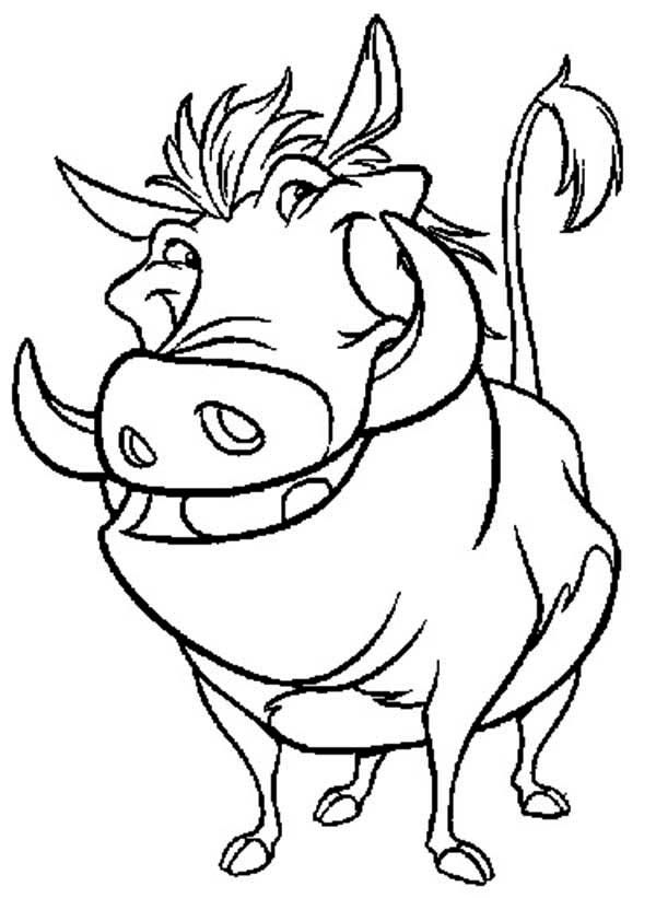 Timon and Pumbaa, : Awesome Pumbaa in Timon and Pumbaa Coloring Page ...