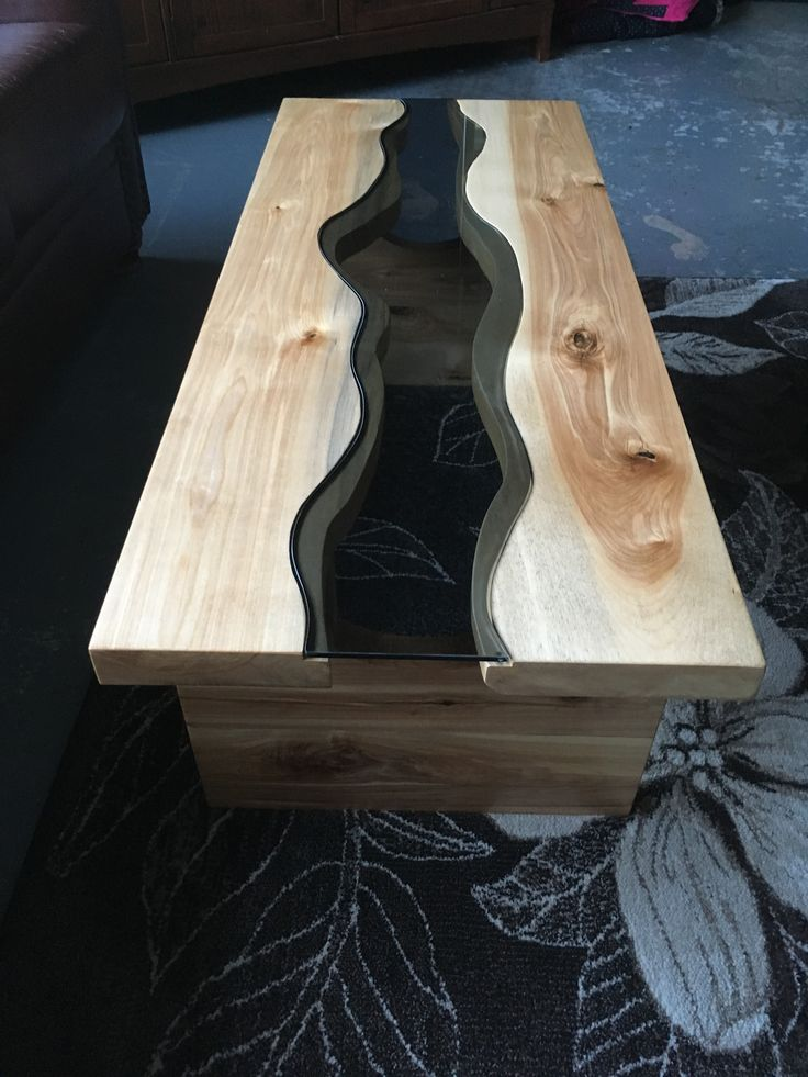 Glass river coffee table