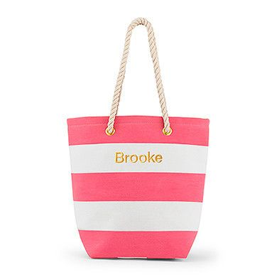 Bliss Striped Tote - Pink And White - LoveStruck Weddings