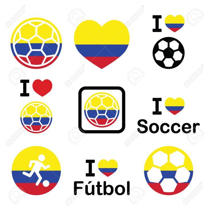 Amo el fútbol Colombiano.  Iconos del fútbol con los colores de la bandera de Colombia.