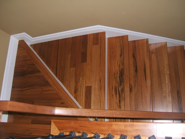 Best Painted Trim Tigerwood Stair Treads White Risers 400 x 300