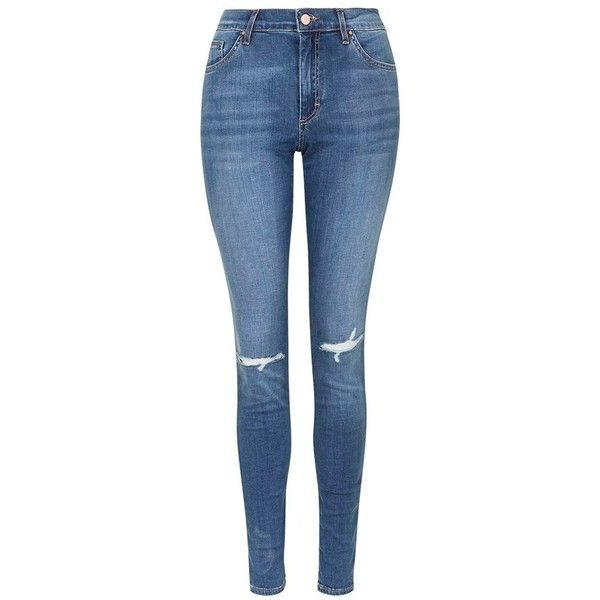 Topshop Moto 'Leigh' Ripped Skinny Jeans (£48) ❤ liked on Polyvore featuring jeans, pants, denim skinny jeans, short pants, destroyed jeans, slim jeans and distressed jeans