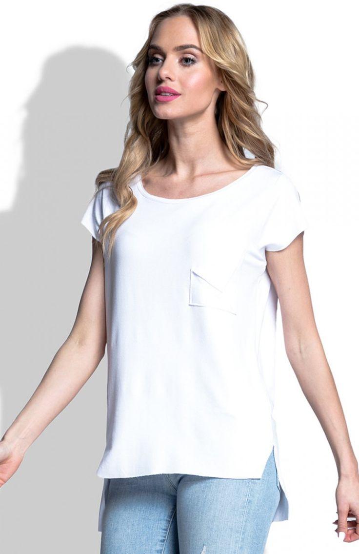 FIMFI I187 bluzka biała Klasyczna bluzka, prosty fason, z krótkim rękawem