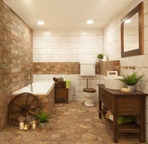 Country koupelna s nádechem venkovského stylu.