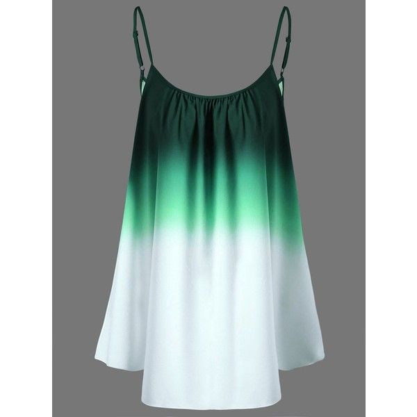 Ombre Plus Size Cami Top ($12) ❤ liked on Polyvore featuring tops, women's plus size tops, green top, green tank, womens plus size tank tops and green cami