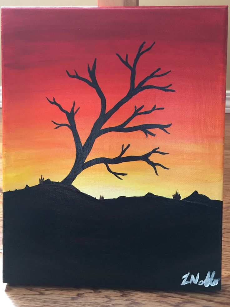 A personal favorite from my Etsy shop https://www.etsy.com/ca/listing/252954805/original-8x10-painting-tree-in-sunset