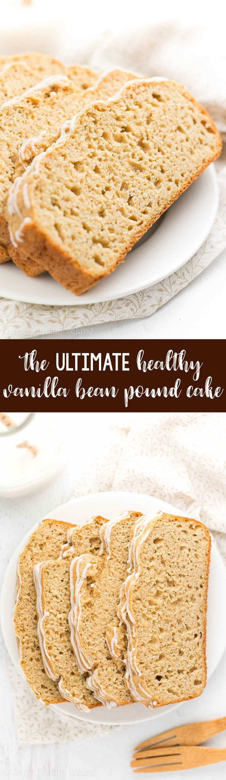 The ULTIMATE Healthy Vanilla Bean Pound Cake! Sweet, tender & only 125 calories! This easy recipe truly is the BEST pound cake I've ever had! | best vanilla pound cake | easy vanilla pound cake recipe | classic vanilla pound cake | vanilla pound cake loaf
