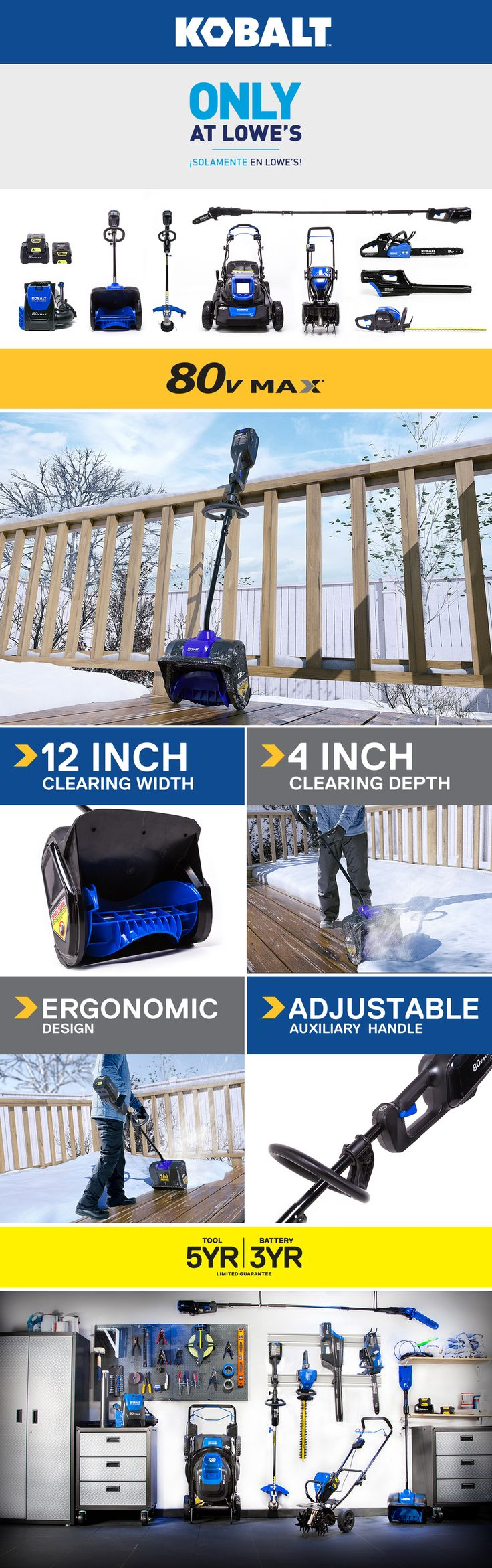 Shop Kobalt 80-Volt Max 12-in Single-stage Cordless Electric Snow Blower Battery Included at Lowes.com