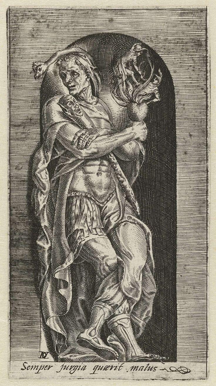 Dirck Volckertsz Coornhert | Dwaasheid van tweedracht, Dirck Volckertsz Coornhert, 1532 - 1590 | Een zot in Romeinse wapenrusting leunt tegen een nis. Hij houdt een brandend menselijk hart vast. In de vlammen zijn twee mannen in een gevecht verwikkeld. De prent heeft een Latijns onderschrift dat waarschuwt voor de gevaren van twist.