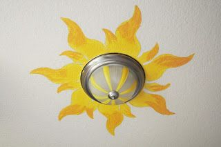 Rapunzel sun painted on the ceiling of a girl's room. PLEASE?!?!