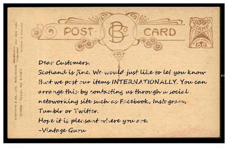 You can inquire at our Facebook - twitter: @Vintage Guru - our instagram: @vintageguruscotland - our tumblr: vintageguruscotland.tumblr.com or email: vintageguruscotland@yahoo.com. #postage #international #internationalsale #internationalpost #vintage #vintageguru #glasgow #scotland #uk #byresroad #fashion #style #trend #mens #womens #unisex #designer #retro #cute #twitter #instagram