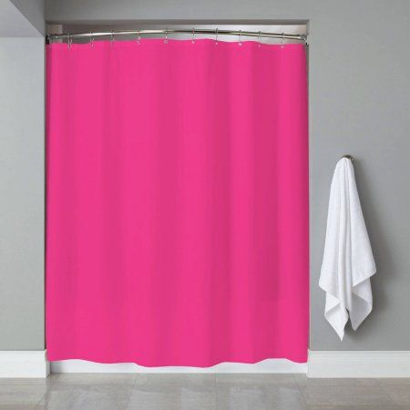 Shower Curtain Liner PVC Metal Grommets Magnets Neon, 70 inch x 72 inch, Pink