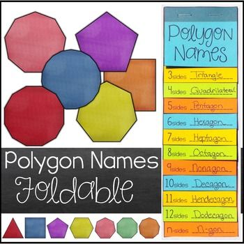 This polygon names foldable includes polygon names for polygons with 3-12 sides.  The following types of polygons are included:Triangle (3)Quadrilateral (4)Pentagon (5)Hexagon (6)Heptagon (7)Octagon (8)Nonagon (9)Decagon (10)Hendecagon (11)Dodecagon (12)N-gon (13+ sides)Important InformationThe only thing printed on the foldables is the number of sides.