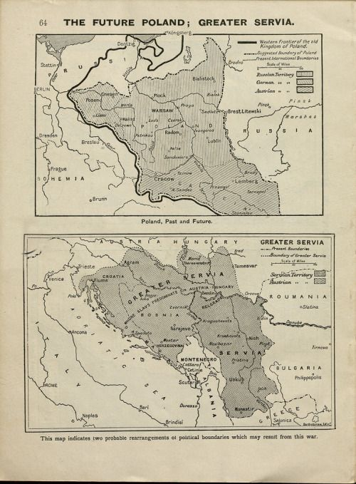 The future Poland and Serbia, a political map from June, 1915
