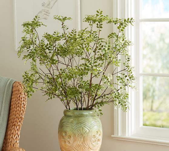 Faux Green Petal Leaf Branch Pottery Barn 34 50 12 W X