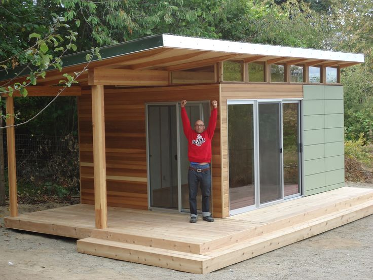 This Vashon Island client works from home at his Modern-Shed home office with a deck. #javaxo