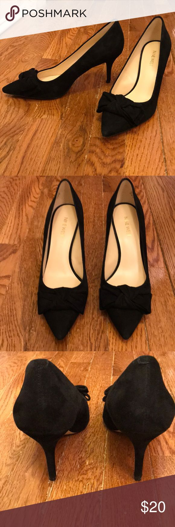 """Black suede bow heels from Nine West Beautiful black suede pumps with bow detailing. 3"""" heel with padded footbed. Great condition. Nine West Shoes Heels"""