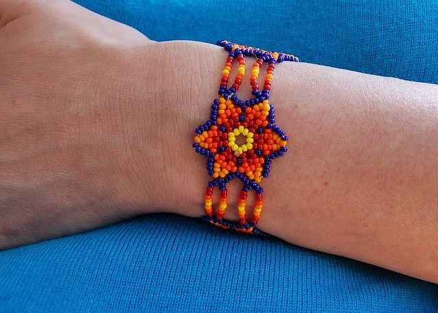 mexican beading | Mexican Beaded Jewelry bracelet blue orange flower | Bead Bracelet