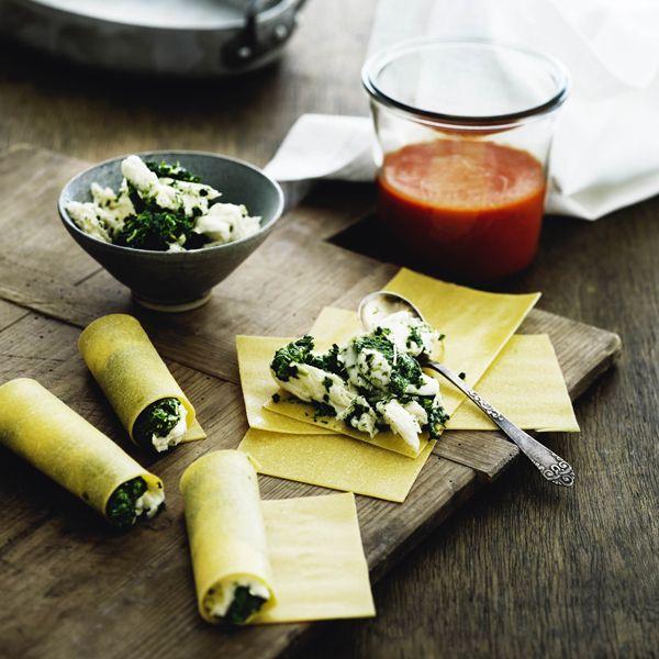 Cannelloni med spinat og mozzarella