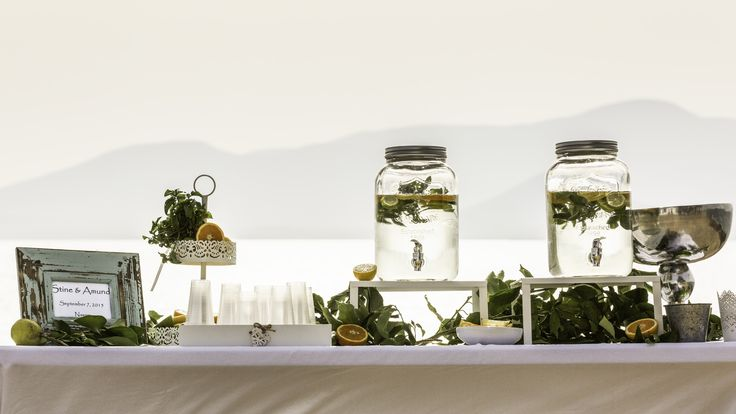 Refreshment table styled by islandevents.gr in Naxos Greece. Photo:Graham Fox