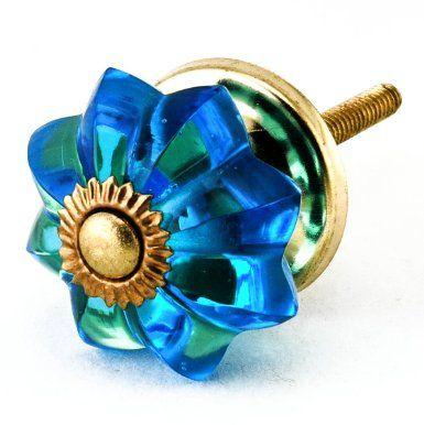 Marine Blue Glass Cabinet Drawer Knob Set12pc