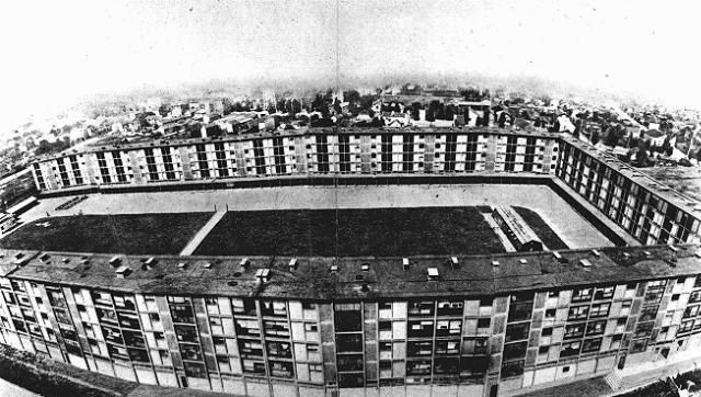 This multistory complex served as the Drancy transit camp. The overwhelming majority of Jews deported from France were held here prior to their deportation. Drancy, France, 1941-1944.