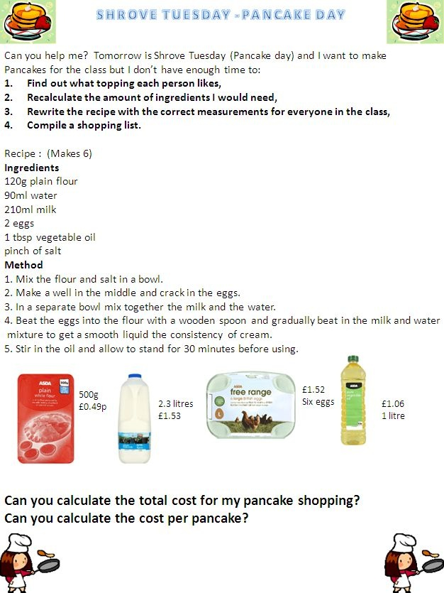 Shrove Tuesday Pancake Day Maths - Use this pancake recipe to teach and develop a variety of maths skills.