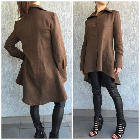 Brown Asymmetrical Loose Shirt with Pockets / Long Sleeves Tunic Dress / Loose Maxi Blouse  / Oversize Linen Top / EXPRESS SHIPPING