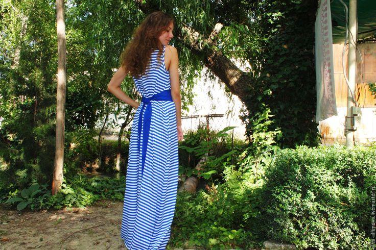 """Купить """"Бриз моря"""" летнее платье-сарафан. - синий, в полоску, летнее платье, платье в пол"""