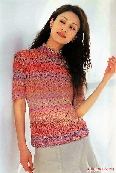 pulover cu guler ajurata și mâneci scurte stativ. Cârlig. - Moda Materiale tricotate + NEMODELNYH PENTRU LADIES - Țara Mamă