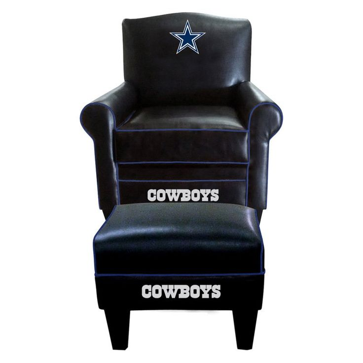 Imperial NFL Game Time Chair and Ottoman - There's no better place to be on Sunday than parked in front of the TV in the Imperial NFL Game Time Chair and Ottoman! This black leather chair w...